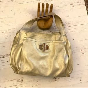 B.makowsky Metallic gold leather shoulder purse